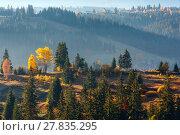 Купить «First sunrise rays of sun in Carpathian mountains.», фото № 27835295, снято 18 октября 2017 г. (c) Юрий Брыкайло / Фотобанк Лори