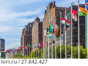Купить «United Nations Headquarters with flags of members of the UN», фото № 27842427, снято 20 мая 2019 г. (c) PantherMedia / Фотобанк Лори