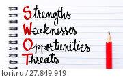 Купить «SWOT Strengths, Weaknesses, Opportunities, Threats», фото № 27849919, снято 26 мая 2018 г. (c) PantherMedia / Фотобанк Лори