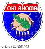 Купить «Oklahoma Flag Icons As Interstate Sign», фото № 27858143, снято 19 октября 2018 г. (c) PantherMedia / Фотобанк Лори