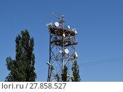 Купить «Satellite antennas and repeaters on the tower», фото № 27858527, снято 17 июня 2019 г. (c) PantherMedia / Фотобанк Лори