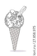 Купить «Ice Cream Cone With Chocolate Flake», иллюстрация № 27858975 (c) PantherMedia / Фотобанк Лори