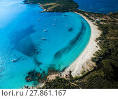 Купить «Aerial View of the Splendid Rondinara Beach, Corsica, France», фото № 27861167, снято 22 апреля 2019 г. (c) PantherMedia / Фотобанк Лори