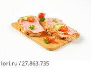Купить «open faced ham sandwiches», фото № 27863735, снято 19 июня 2019 г. (c) PantherMedia / Фотобанк Лори