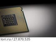 Купить «Macro shot of microprocessor with shallow depth of field on grey gradient», фото № 27870535, снято 17 ноября 2018 г. (c) PantherMedia / Фотобанк Лори