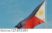 Купить «Flying bicolor flag of the Philippines with central golden sun representing the provinces and stars the islands», видеоролик № 27873051, снято 11 февраля 2018 г. (c) Mikhail Davidovich / Фотобанк Лори