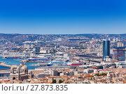 Купить «Beautiful cityscape and coastline of Marseille», фото № 27873835, снято 18 июля 2017 г. (c) Сергей Новиков / Фотобанк Лори