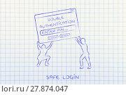 Купить «men lifting pop-up with double authentication, safe login», фото № 27874047, снято 21 мая 2018 г. (c) PantherMedia / Фотобанк Лори