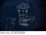 Купить «man with binoculars spying on private data transfer, spyware threats», фото № 27875839, снято 26 мая 2018 г. (c) PantherMedia / Фотобанк Лори