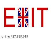 Купить «Flag of United Kingdom with word Exit», фото № 27889619, снято 23 января 2019 г. (c) PantherMedia / Фотобанк Лори