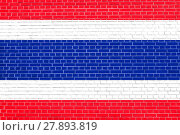 Купить «Flag of Thailand on brick wall texture background», фото № 27893819, снято 23 января 2019 г. (c) PantherMedia / Фотобанк Лори
