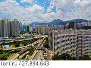 Купить «hong kong public estate with landmark lion rock», фото № 27894643, снято 20 февраля 2018 г. (c) PantherMedia / Фотобанк Лори