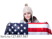 Купить «Beautiful patriotic vivacious young woman with the American flag held in her outstretched hands standing in front of an expanse of white sand», фото № 27897587, снято 18 марта 2018 г. (c) PantherMedia / Фотобанк Лори