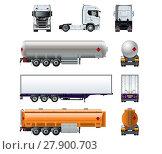 Купить «Vector realistic semi truck mockup set isolated on white», иллюстрация № 27900703 (c) Александр Володин / Фотобанк Лори