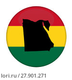 Купить «Egypt map on a Rastafarian flag button», фото № 27901271, снято 15 февраля 2019 г. (c) PantherMedia / Фотобанк Лори