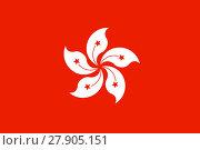 Купить «Flag of Hong Kong in correct proportion and colors», фото № 27905151, снято 15 августа 2018 г. (c) PantherMedia / Фотобанк Лори