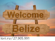Купить «welcome to belize sing on wood background», фото № 27905991, снято 20 июня 2019 г. (c) PantherMedia / Фотобанк Лори