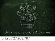 Купить «shopping basket with gift cars and coupons, customer fidelization», фото № 27908787, снято 19 ноября 2018 г. (c) PantherMedia / Фотобанк Лори