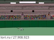 Купить «Outfielder running for ball at crowded stadium», иллюстрация № 27908923 (c) PantherMedia / Фотобанк Лори