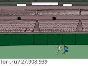 Купить «Woman watching soccer players practice», иллюстрация № 27908939 (c) PantherMedia / Фотобанк Лори