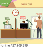 Купить «Business company roles situation infographics with boss making a presentation at the white board for programmer and web designer at work. Digital vector image», иллюстрация № 27909299 (c) PantherMedia / Фотобанк Лори