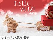 Купить «Reindeer With Sled, Red Background, Text Hello 2017», фото № 27909499, снято 3 июля 2020 г. (c) PantherMedia / Фотобанк Лори