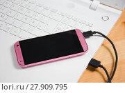 Купить «pink smartphone», фото № 27909795, снято 22 февраля 2019 г. (c) PantherMedia / Фотобанк Лори