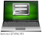 Купить «Laptop Computer with Login Screen - 3D illustration», фото № 27916151, снято 26 февраля 2018 г. (c) PantherMedia / Фотобанк Лори