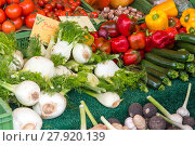 Купить «fennel,peppers and courgettes for sale at a market», фото № 27920139, снято 17 марта 2018 г. (c) PantherMedia / Фотобанк Лори