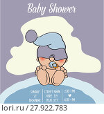 Купить «baby boy shower card with funny little baby», фото № 27922783, снято 23 июля 2018 г. (c) PantherMedia / Фотобанк Лори