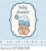 Купить «baby boy shower card with funny little baby», фото № 27930535, снято 23 июля 2018 г. (c) PantherMedia / Фотобанк Лори