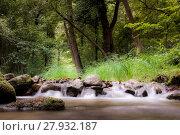 Купить «Water stream running over mossy rocks», фото № 27932187, снято 25 июня 2019 г. (c) PantherMedia / Фотобанк Лори