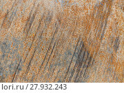 Купить «metal plate with grinding marks and rust in closeup», фото № 27932243, снято 17 февраля 2018 г. (c) PantherMedia / Фотобанк Лори
