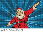 Купить «Santa Claus superstar singer on stage», фото № 27934171, снято 20 октября 2018 г. (c) PantherMedia / Фотобанк Лори