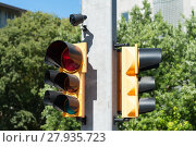 Купить «Traffic light with buzzer for walkway of the blind», фото № 27935723, снято 20 августа 2019 г. (c) PantherMedia / Фотобанк Лори