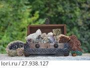 Купить «many minerals quartz and crystal stones in wooden box », фото № 27938127, снято 20 июля 2018 г. (c) PantherMedia / Фотобанк Лори