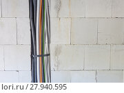 Купить «Cables and pipes in the wall», фото № 27940595, снято 23 февраля 2019 г. (c) PantherMedia / Фотобанк Лори