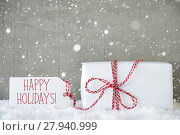 Купить «Gift, Cement Background With Snowflakes, Text Happy Holidays», фото № 27940999, снято 26 июня 2019 г. (c) PantherMedia / Фотобанк Лори