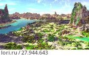 Купить «Чужая планета. Скалы и озеро. Анимация. Панорама. 4К», видеоролик № 27944643, снято 17 февраля 2018 г. (c) Parmenov Pavel / Фотобанк Лори