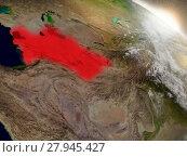 Купить «Turkmenistan from space highlighted in red», фото № 27945427, снято 15 июня 2019 г. (c) PantherMedia / Фотобанк Лори