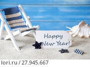 Купить «Summer Label With Deck Chair And Text Happy New Year», фото № 27945667, снято 26 мая 2018 г. (c) PantherMedia / Фотобанк Лори