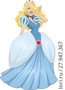 Купить «Princess Cinderella In Blue Dress», иллюстрация № 27947367 (c) PantherMedia / Фотобанк Лори
