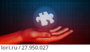 Купить «Hand Holding Jigsaw Piece», фото № 27950027, снято 18 января 2019 г. (c) PantherMedia / Фотобанк Лори