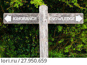 Купить «IGNORANCE versus KNOWLEDGE directional signs», фото № 27950659, снято 27 июня 2019 г. (c) PantherMedia / Фотобанк Лори