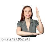Купить «Girl on a white background pulls hand up, as in a school lesson», фото № 27952243, снято 21 января 2018 г. (c) Евгений Харитонов / Фотобанк Лори