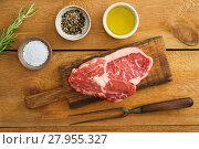 Купить «Uncooked rib eye steak», фото № 27955327, снято 21 июня 2018 г. (c) PantherMedia / Фотобанк Лори
