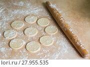 Купить «Dough circles and rolling pin», фото № 27955535, снято 24 февраля 2018 г. (c) PantherMedia / Фотобанк Лори