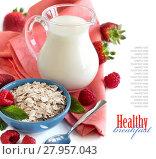 Купить «Rolled oats in a bowl with berries and milk», фото № 27957043, снято 24 марта 2018 г. (c) PantherMedia / Фотобанк Лори