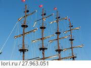 Купить «Masts and sails of huge sailing boat against the background of blue sky  », фото № 27963051, снято 22 января 2019 г. (c) PantherMedia / Фотобанк Лори