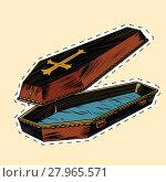 Купить «wooden coffin with Christian cross label sticker», иллюстрация № 27965571 (c) PantherMedia / Фотобанк Лори